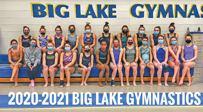 THE 2021 BIG LAKE HORNET GIRLS GYMNASTICS TEAM. (In no particular order): Kaelyn Dietz, Ava Eastman, Allie Goracke, Allie Lu, Amber Grunewald, Ava Heinen, Samantha Merten, Tia Neadeau, Lola Visci, Maddy Farnsworth, Katie Goracke, Autumn Grunewald, Britney Krumrei, Grace McCrone, Breanna Ziembo, Kennadie Ell, Grace Gardner, Hannah Horvath, Claire John, Taylor Screifels, Grace Kluk and Jolie Nehwah 12. (Photo by Paul Krumrei).