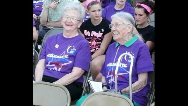 SURVIVORS. The 2013 Becker Relay for Life® Honorary Survivors, above, were Lu Schuette, left, and Alice Cowley.
