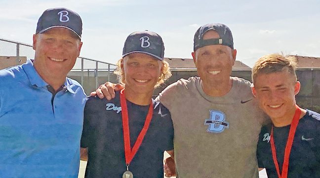 Coaches (and dads) Brent Scheideman (L) and Hokan Bengtson celebrated their player's (and son's) Eli (L) and Ryan as they qualified for the state tennis tournament. (Submitted Photo).