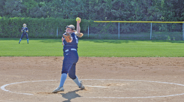 Bulldog pitcher Emma Eickhoff was dominant in Tuesday's win, as she piled up 14 strikeouts (Patriot photo by Mark Kolbinger).