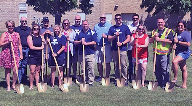 A GROUNDBREAKING CEREMONY was held last Friday to begin construction of a community basketball court and a pickleball court to the west of the community center. Left to right: Robin Dingmann – Becker City Counci; Greg Pruszinski – Becker City Administrator; Tracy Bertram – Becker Mayor; Cody Martell – Cornerstone Concrete; Kirsten Voller – Becker Youth Basketball Association;  Margaret Smude – Becker Youth Basketball Association; Jeromy Quast – Becker Youth Basketball Association; Dan Baird - Becker HS Girls Basketball Head Coach; Ryan Seavert – Becker Youth Basketball Association; Josh Ihrke  - Becker Youth Basketball Association; Bartt Gevens – Recreation Manager at Becker Community Center; Truda Boler – Parks & Recreation Commission Chair; Chris Lisson – Public Works & Parks Assistant Director and Becky Olmscheid – Becker City Council. (Submitted Photo)