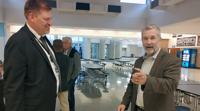 SUPT. JEREMY SCHMIDT AND ARCHITECT MARK LENZ were available at Tuesday's open house to explain the referendum plan to residents. (Photo by Katherine Cantin.)