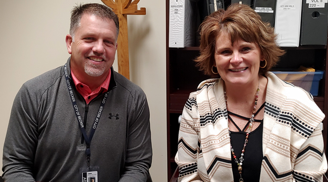 PHIL KNUTSON (L) AND CONNIE ROBINSON (R) have been working on a five-year street reconstruction plan along with city staff. (Photo by Katherine Cantin.)