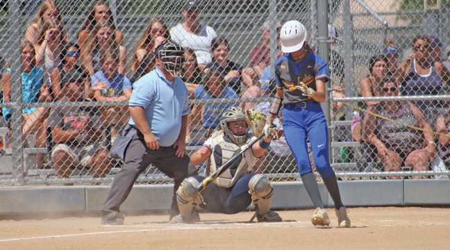Becker catcher Makenna Zerwas squeezed the ball after a Hornet batter swung and missed at strike three. (Patriot photo by Mark Kolbinger).
