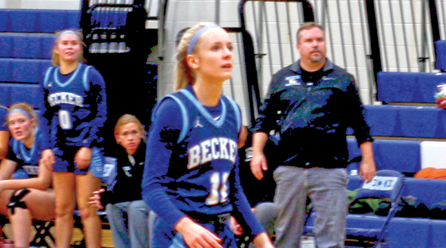 Adeline Kent has shown a scoring touch in recent games, as she tallied 24 against Monticello and 14 against Princeton in Becker's two wins. (Patriot photo by Mark Kolbinger).