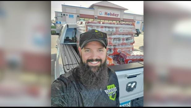 SPREADING GOOD WILL. Guardian Fleet Safety in Clear Lake recently donated a pallet load of Gatorade to the troops fighting the riots in Minneapolis. Charles Teigen (owner) is pictured just before delivery in Minneapolis last week. The gift was made in an effort to show support to officers and troops fighting near and far. (Submitted photo).