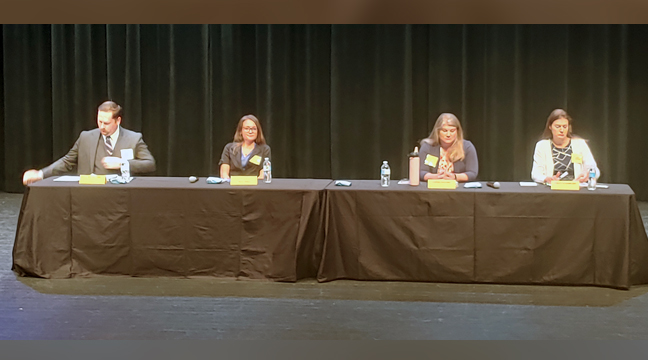 THE BIG LAKE SCHOOL BOARD CANDIDATES met for a Q&A last week. From left to right are Derek Nelson, Chelsea Hancock, Connie Stegora, and Ashley Schabilion. Not in attendance was Alison Krueger. (Photo by Katherine Cantin.)
