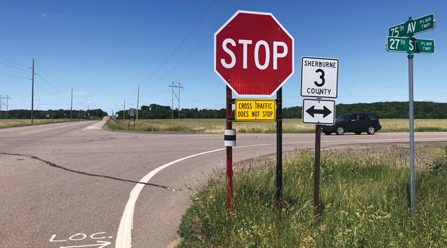 The intersection at CSAH's 3 and 20 will be the site of a pilot project, as Sherburne County works on reducing accidents at rural intersections.  LED lighted stop signs will be added, as well as a data collection tool to track how the county can make roadways safer (Patriot photo by Mark Kolbinger).