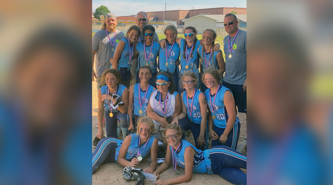 The Becker Blast 12U Gold team went 5-0 in back-to-back games, beating the heat and the competition in the Zimmerman Tournament last weekend. Pictured, front, left to right:  Jennie Drahota and Sophie Humphrey. Middle row, left to right: Nevaeh Sullivan, Kenley Nicholas, Gianna Tirevold, Grace Baldry and Alexa Scheel. Back row, left to right: Coach Josh Hunter, Elaynna Kuklok, Coach Josh Humphrey, Bella Hunter, Raelee Lyon, Madelyn Gardner, Jazmin Wiedewitsch and Coach Aaron Scheel. (Submitted Photo)
