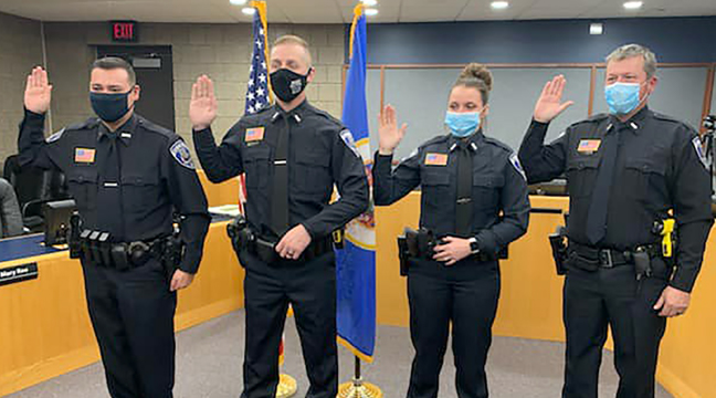 FOUR NEW POLICE OFFICERS were sworn into the Becker Police Department recently. From left to right: Officer Derek Jacobson, Officer Caleb Hansen, Officer Shawnee Mielke and Officer Grant Jansons. (Photo taken from Becker Police Department's Facebook page.)