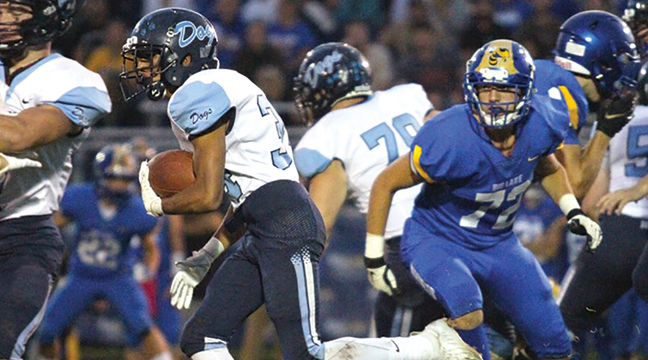 BECKER RB Kabir Bhakta scooted through the gaping Hornet line to score in the first minute of the Becker/Big Lake game last Friday on the road. (Patriot Photo by Bill Morgan)