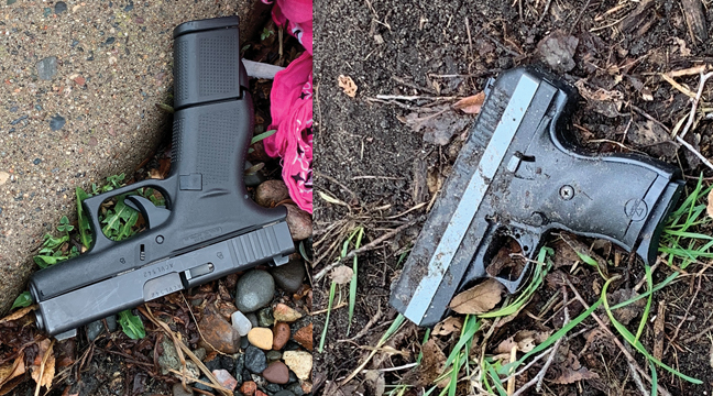 The first handgun (right) was recovered shortly after the juveniles were taken into custody and the second handgun (left) was found  April 12. (Submitted Photos)