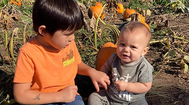 PUMPKIN PATCH. Sherburne County little ones Cormac and Declan Tyler are pictured enjoying the season last weekend. (Submitted photo.)
