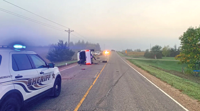 DONALD ZWILLING'S TRUCK (background) was pushed forward after impact from Jay Kangas' truck (foreground) which caused the death of Zwilling. Zwilling, it was reported, had stepped out of his vehicle after purportedly hitting a deer. Kangas suffered minor injuries. (Photo from Stearns County Sheriff's Dept.)