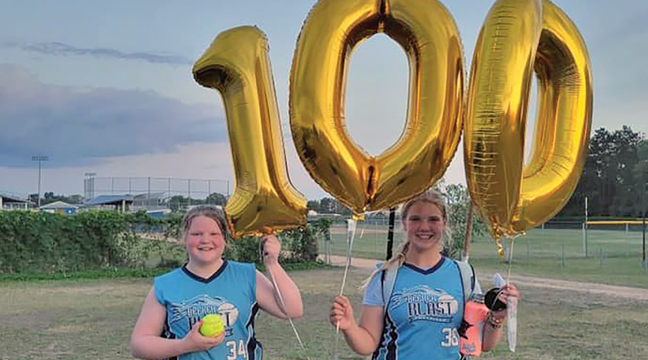 Brynn Luethmers (L) of the Becker Blast 10U Gold softball team,  recorded her 100th strike out of the season this week! Handling all those strikeouts was catchers Katie Wipper (R). (Submitted Photo).