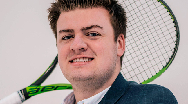 BRADY GRUENHAGEN OF BECKER recently won a $1,000 scholarship for his real estate business proposal. Gruenhagen was a star tennis player at Becker HS and is continuing his athletic prowess at St. Thomas. (Submitted photo.)