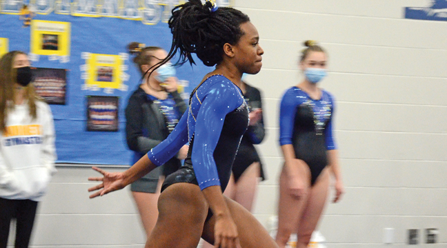 JOLIENE HWAH sprinted during her floor routine last week. (Photo by Paul Krumrei).