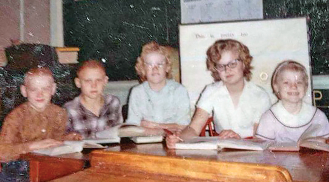 ERICKSON FAMILY at Kragero one room school: Russell, Roger, Karen, Judy and Gloria.(Submitted Photo).
