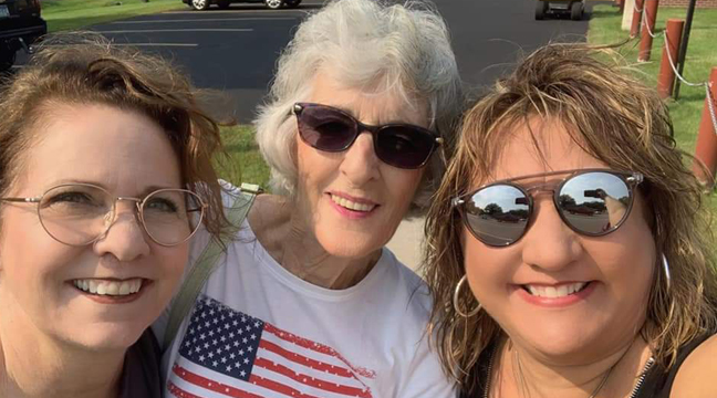 Judith Deluque, Marilyn Olson and Ann Olson enjoyed Palmer Day on Saturday, September 11th. Ann Olson sang the national anthem for the annual festivities. (Submitted Photo).
