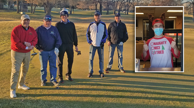 DECEMBER GOLF. Mens club members at Pebble Creek Golf Course in Becker enjoyed unseasonably warm temperatures Dec. 16. Pictured: Mike Doering, Ted Crowe,  John Dinsmore, Barry Ashmore and Ryan Issacson. Inset photo: Ethan Wilson enjoyed his shift in the snack shop. (Photos by Mary Nehring ).