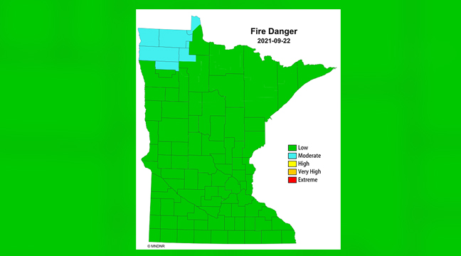 WITH RECENT RAIN, LOWER TEMPS, AND HIGHER HUMIDITY, the danger of wildfires in Minnesota has decreased significantly, leading to burning restrictions being lifted statewide.(Submitted photo.)