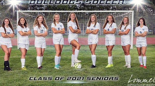 THE BECKER BULLDOG GIRLS SOCCER SENIORS posed for this photo to kick off the 2020 season. Left to right: Madi Temple, Elle Schendzielos, Izzy Carson, Gretchen Graftaas, Megan Gamble, Mallory King, Faith Madsen, Kaylin Peterson and Alaynna Suchy. (Photo by Chris Lommel).