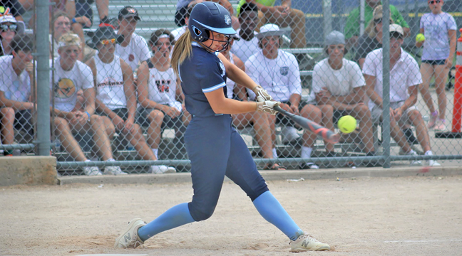 Bulldog Kurstyn Patnode connected on a pitch in the seventh inning of the state title game.  The ball would sail over the fence for a game clinching three run home run. (Submitted Photo).