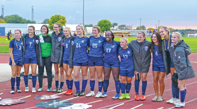 THE 13 SENIORS FROM THE 2021 SQUAD are  (left to right): Dakota Gay, Meagen Haessly, Taylor May, Cassidy Paumen, Adeline Kent, Chloe Fager, Imogen Mohler, Za'Naya Baker, Riley Norberg, Amanda Miner, Sarena St. Denis, Alayna Moeller and Kennedy Rusin. (Submitted Photo)