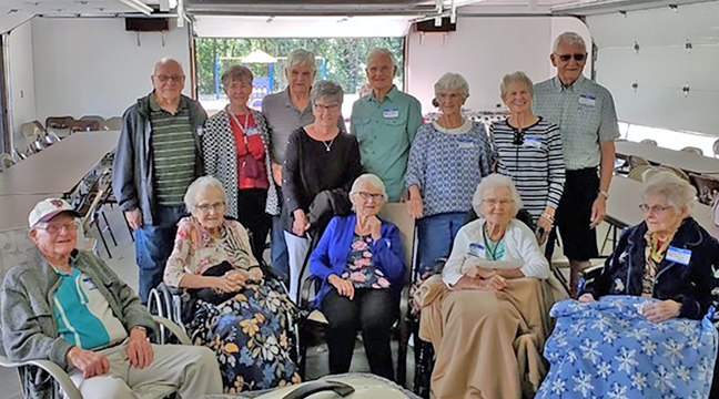 Descendants of Joe and Frances (Carlin) Weis were reunited last weekend for a family reunion. Pictured: Front Row: Leon Weis (92), Kathleen Weis Chmielewski (98), Joan Weis Hurly (94), Doris Weis Arnold (97), Terese Balder Weis - wife of John Weis, deceased (94). Back Row: Bill Stearly (Spouse of Lois), Jo Weis (Spouse of Denis), Kevin Weis, Millie Weis (Spouse of Kevin), Denis Weis, Lois Weis Stearly, Marcia Weis Pletcher, Vince Pletcher (Spouse of Marcia). Not pictured is Donna Jenks (89), who lives in Florida and was not able to attend. (Submitted photo.)