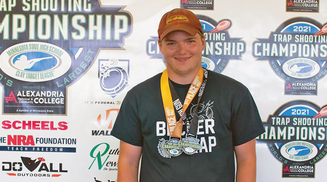 Bradley Bible of the Becker trap team took home the MSHSL state championship in the Clay Target State Tournament held last week in Prior Lake (Submitted Photo).