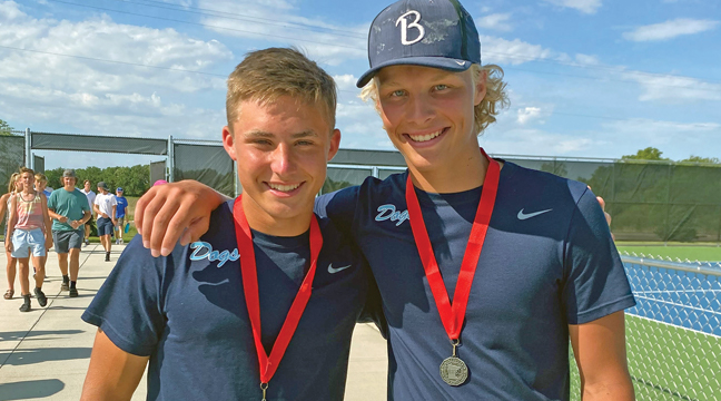 Ryan Bengtson and Eli Scheideman qualified for the State Class AA Tennis Championships after finishing second in the Section 8AA tournament. (Submitted Photo).