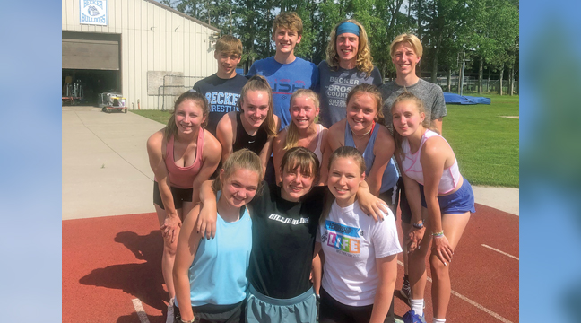 BECKER'S ALL CONFERENCE AND HONORABLE MENTION ATHLETES includes (Back row) Owen Angel, Tyson Ricker, Lukas Karel and Michael Schmitz. Middle row includes: Cassidy Pleoger, Lexi Rose, Alea Briggs, Regan Hausmann and Sarah Woelfel. Front row includes: Abby Atwood, Kayla Gruenes and Meghan Swanson. (Submitted Photo)