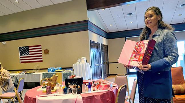 NEWLY ELECTED PRESIDENT GLENNA SOENNEKER leads the CVBC's quarterly meeting last week. (Photo by Penny Leuthard)