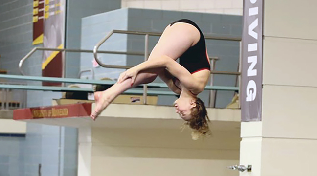 Congratulations to former Becker student and currrent College of St. Ben's sophomore diver Emi Quill, who earned All-American honors for the second straight season last week! She recorded two national qualifying scores in just five meets as a sophomore, and after sending in a video compilation, was selected by a panel of judges as one of the top divers in Division III! (Submitted Photo).