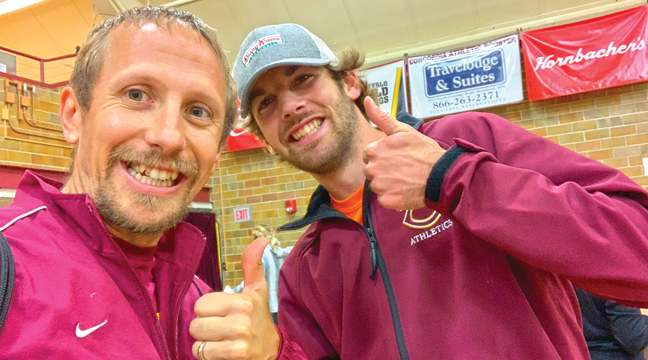 Coach Dustin Weege was able to connect with a Bulldog Alumni runner Justin Kringler this past weekend in Moorhead.  Kringler is a senior Math major competing in Cross Country and Track&Field at Concordia College.  He is a fellow 'CobbDog'. (Submitted Photo).